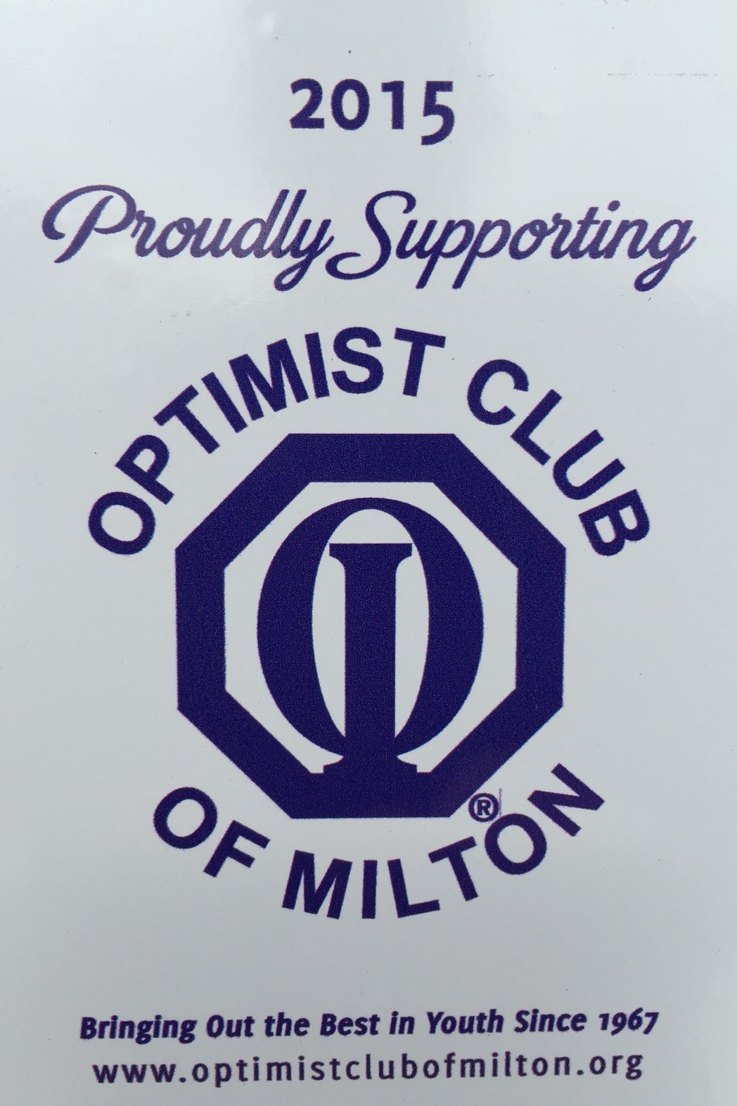 Optimist club sticker for door of Optical