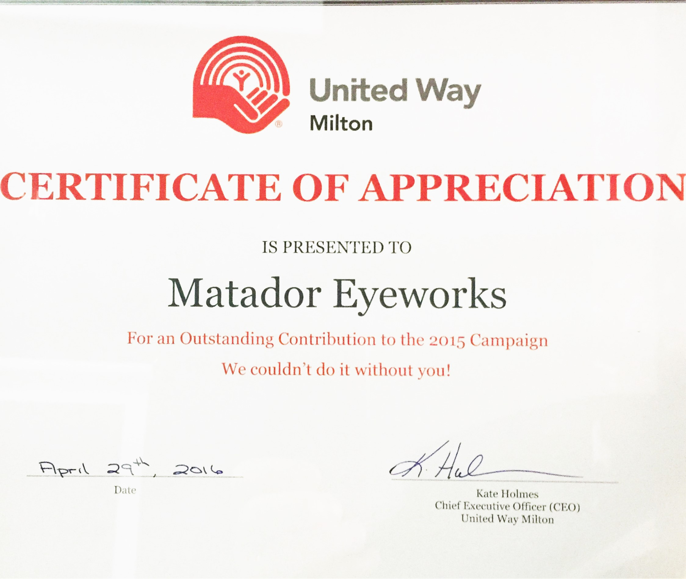 United Way Milton Certificate of Appreciation