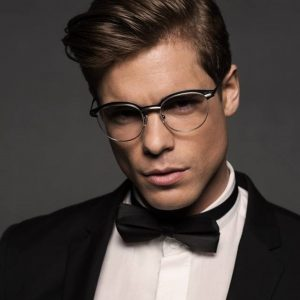 Gold and wood eyeglasses for men