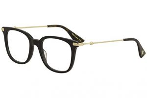Gucci prescription eyeglass frame with black acetate front and gold temples