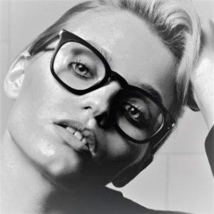 Model wearing Saint Laurent eyeglasses for women